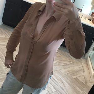 Moda International Tops - Moda International Camel Sheer Button Down Blouse